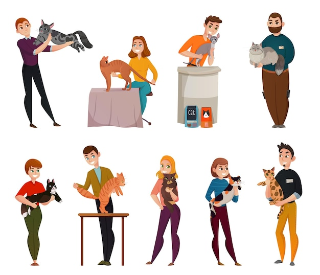 All-breed cats show isolated cartoon icons set with owners presenting pets to jury isolated vector illustration Free Vector