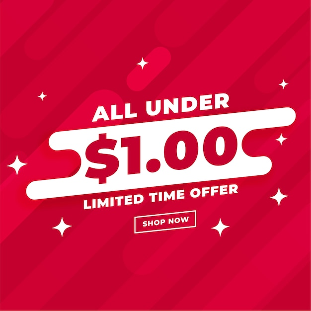 All under dollar one sale and deal template Free Vector