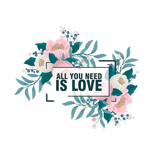 Tutto ciò di cui ho bisogno sei tu. carta di invito floreale luminoso con uccelli, fiori su sfondo luminoso con effetto bokeh. sfondo romantico cartone animato - ideale per gli inviti di nozze. elegante biglietto save the date Vettore gratuito
