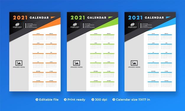 현대적인 크리에이티브 디자인과 1-12 개월의 모든 2021 년 월 달력 프리미엄 벡터