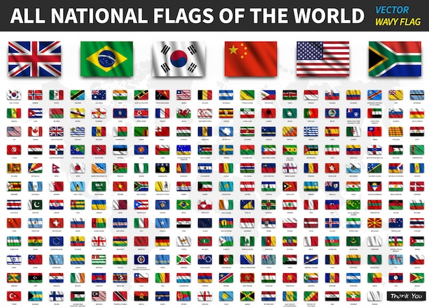 세계의 모든 국기. 현실적인 흔들며 패브릭 질감 프리미엄 벡터