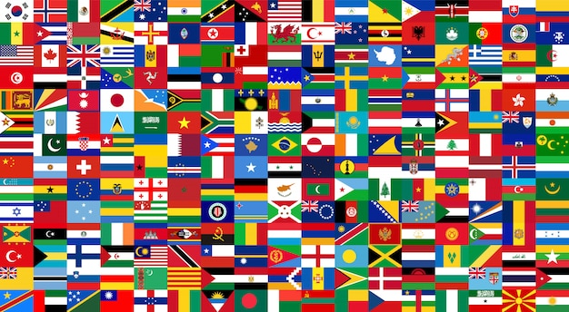 All national flags of the world . background style Premium Vector
