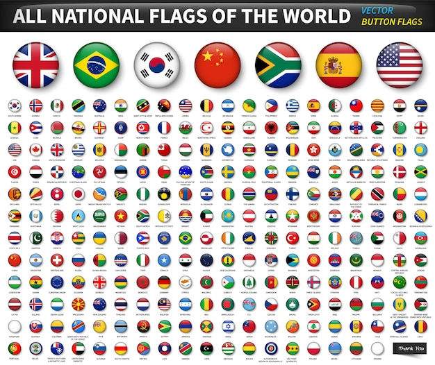 All national flags of the world . circle convex button design . elements vector Premium Vector