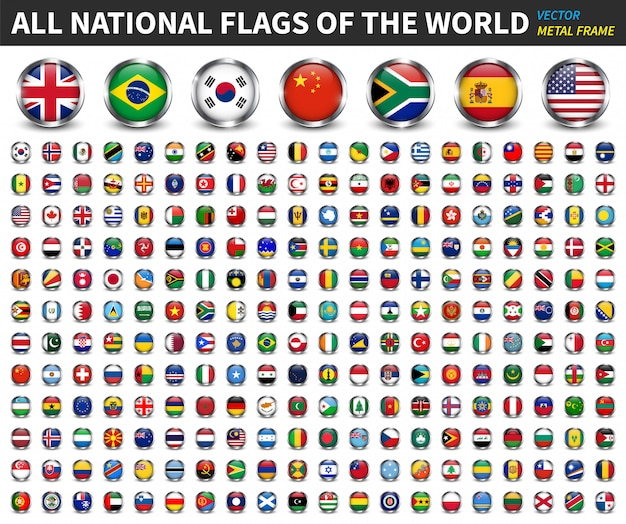 All national flags of the world . circle metal frame with sparkle Premium Vector
