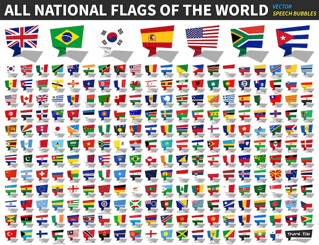 All national flags of the world . speech bubbles design Premium Vector