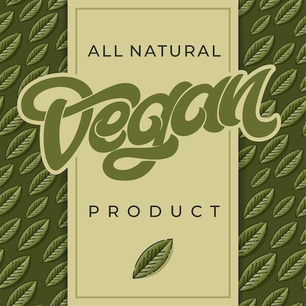 Все естественные веганские продукты слово или текст с зеленым листом. Premium векторы