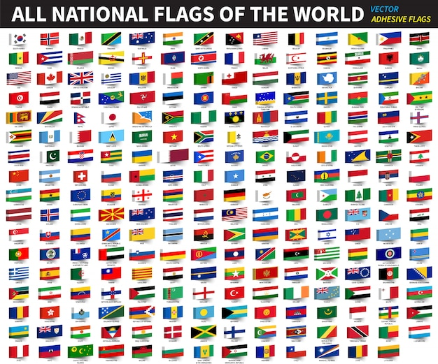 All official national flags of the world Premium Vector