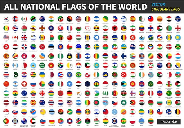 All official national flags of the world. Premium Vector