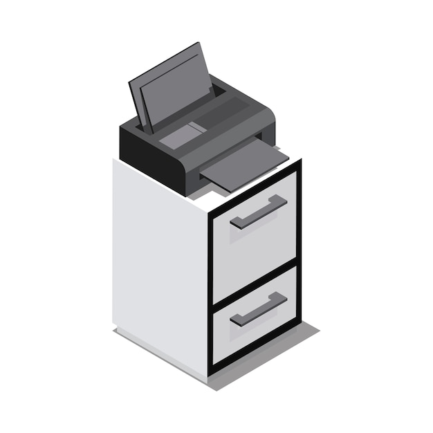 All in one printer isolated on background Free Vector