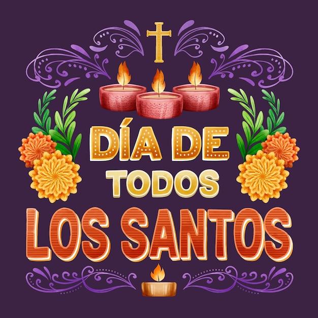 Надпись ко дню всех святых со свечами Premium векторы