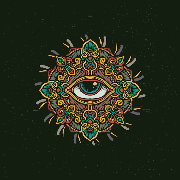 Всевидящее око мандала цветок иллюстрация Premium векторы