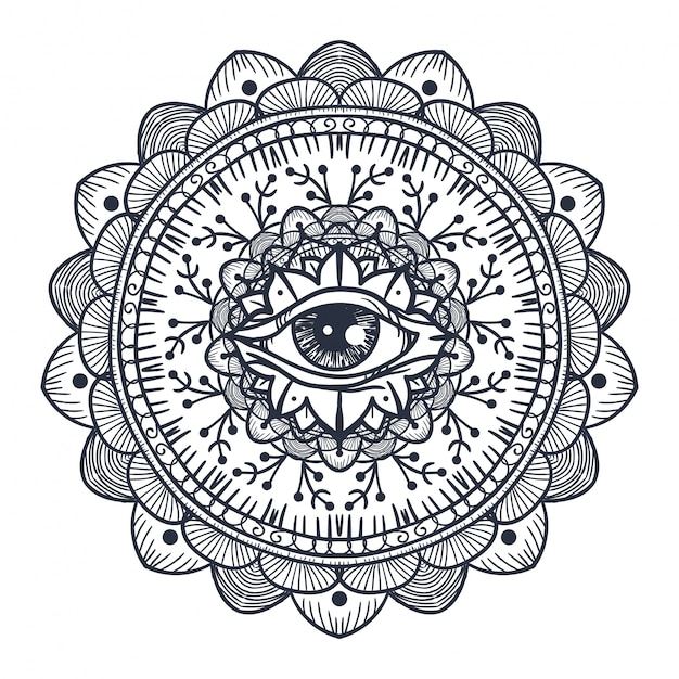 All seeing eye in mandala Premium Vector