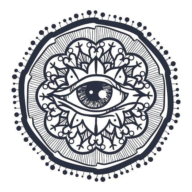 All seeing eye in mandala Premium Vector