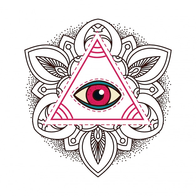 All Seeing Eye Pyramid Symbol Vector Premium Download
