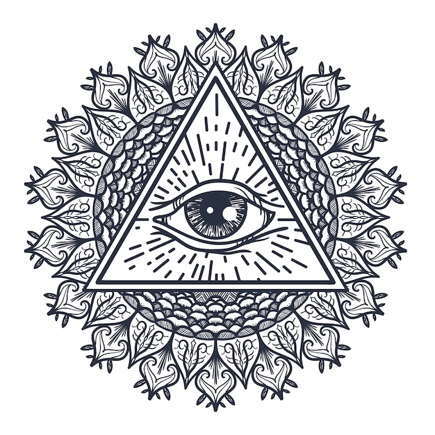All seeing eye in triangle and mandal Premium Vector