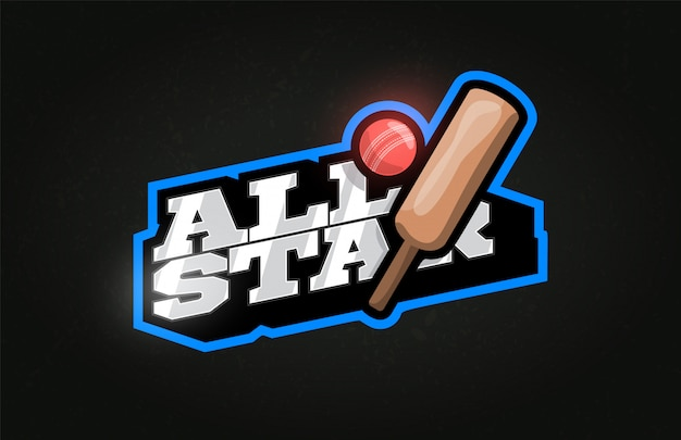 All star modern professional typography cricket sport retro style emblem logo . Premium Vector