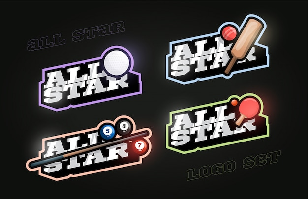 All star retro style sport logo set Premium Vector
