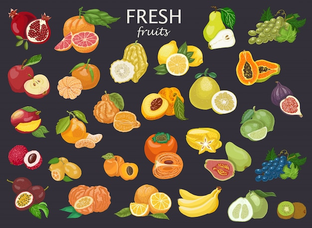 All type of fruits Premium Vector