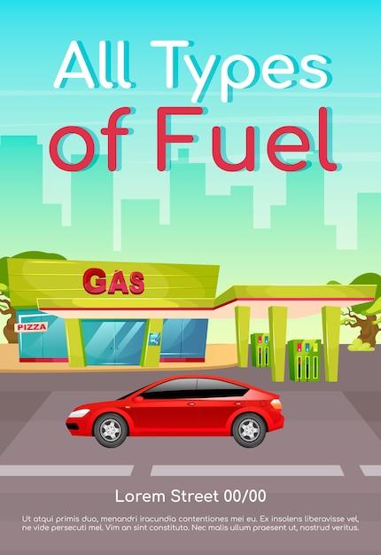 Плоский шаблон плаката всех типов топлива. заправка бензином для автомобилей. дизель и бензин для автомобилей. брошюра, буклет на одну страницу концептуального дизайна с героями мультфильмов. листовка, буклет азс Premium векторы