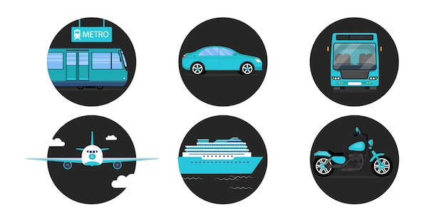 All types of transport. metro or subway, car, bus, airplane, ship and motorcycle Premium Vector