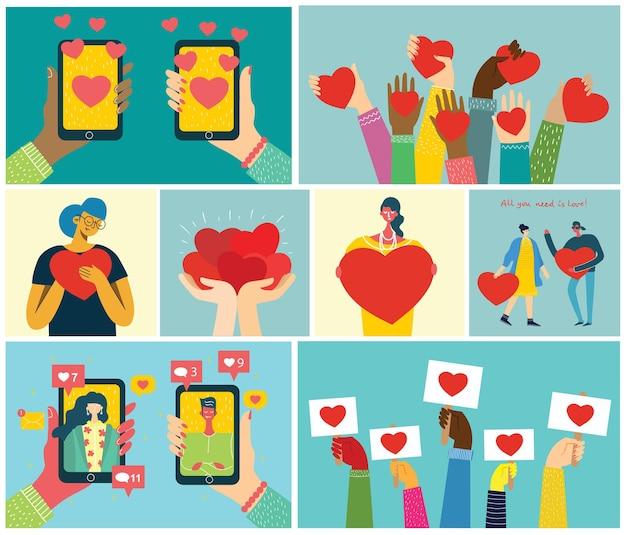 Все, что тебе нужно - это любовь. руки и люди с сердцем как любовные массажи. Premium векторы