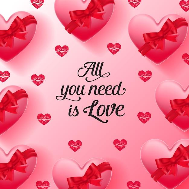Tutto ciò di cui hai bisogno sono lettere d'amore e cuori decorati con nastri Vettore gratuito