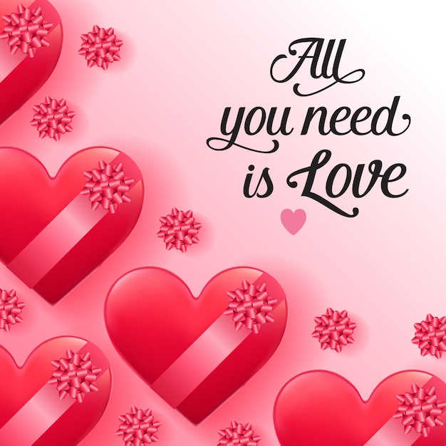 Tutto ciò di cui hai bisogno è un lettering d'amore con scatole a forma di cuore Vettore gratuito