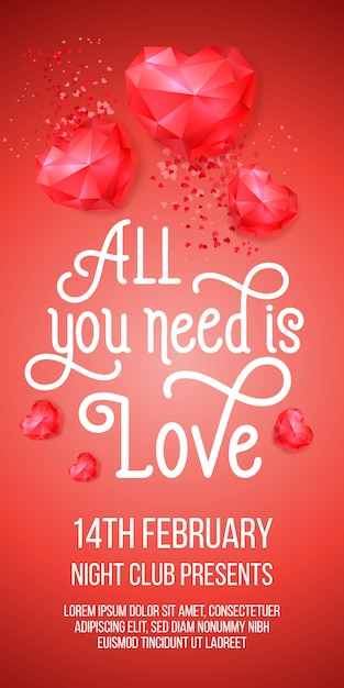 All you need is love lettering with ruby hearts Free Vector
