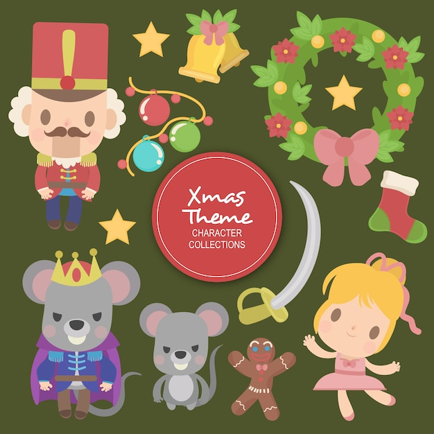 Allen christmas winter characters Premium Vector