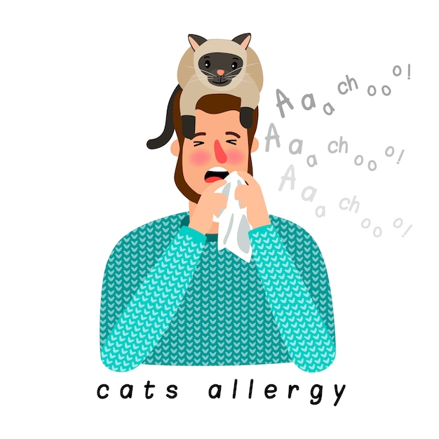 Allergic person with cat on head Premium Vector