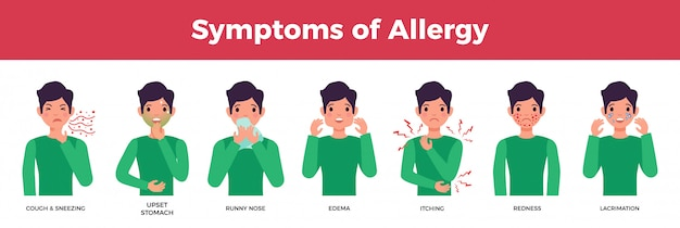 Allergy avatar or characters set with allergy symptoms, flat isolated vector illustration Free Vector