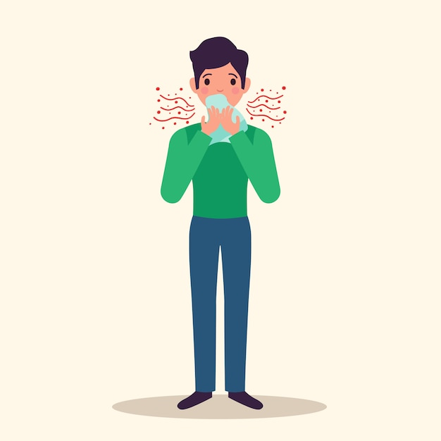 Allergy character sneezing concept with symptoms, flat vector illustration Free Vector
