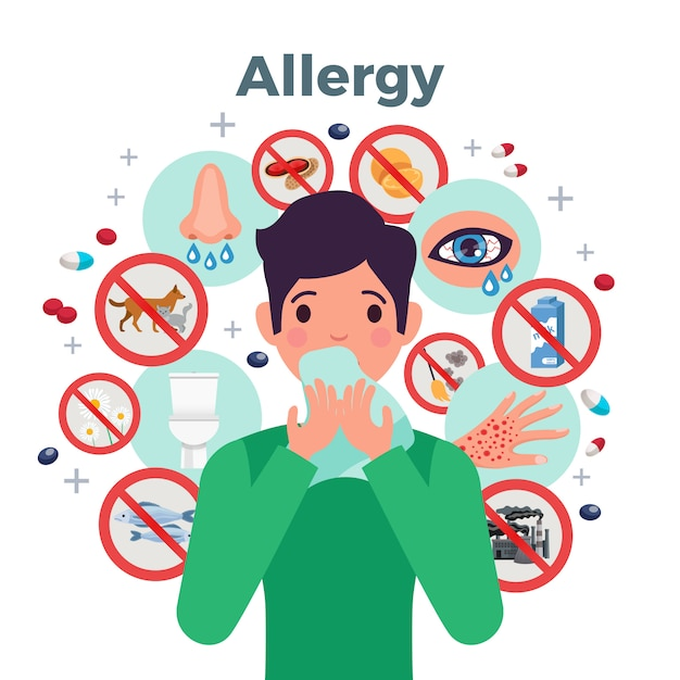 Allergy concept with risk factors and symptoms, flat vector illustration Free Vector