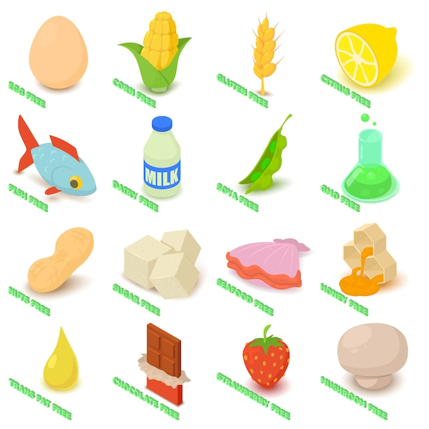 Allergy free icons set food. isometric illustration of 16 allergy free vector icons for web Premium Vector