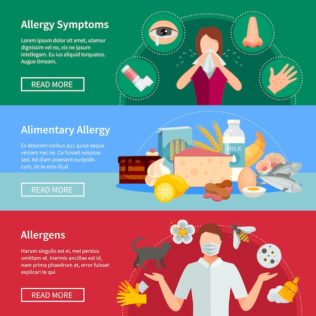 Allergy horizontal banners Free Vector