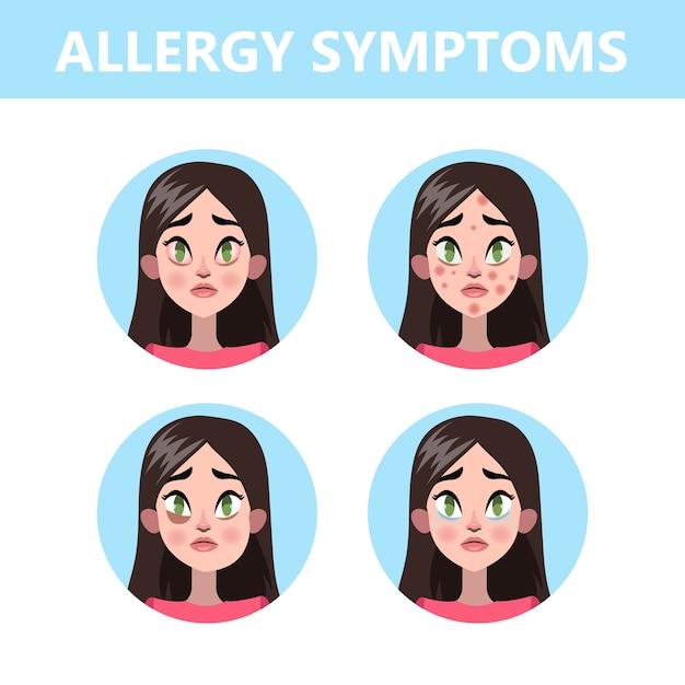 Инфографика о симптомах аллергии. насморк и покраснение глаз Premium векторы