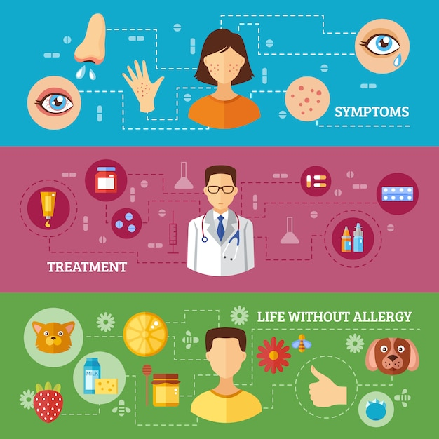 Allergy symptoms medical treatment horizontal banners Free Vector