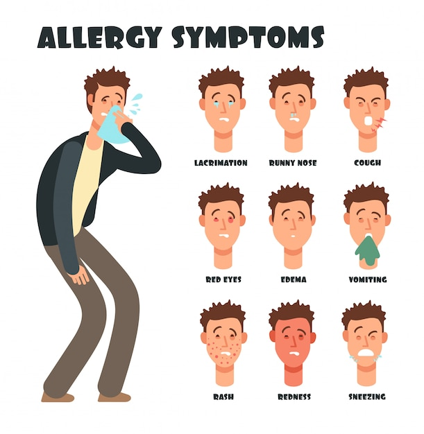 Allergy symptoms with sneezing cartoon man. medical vector illustration Premium Vector