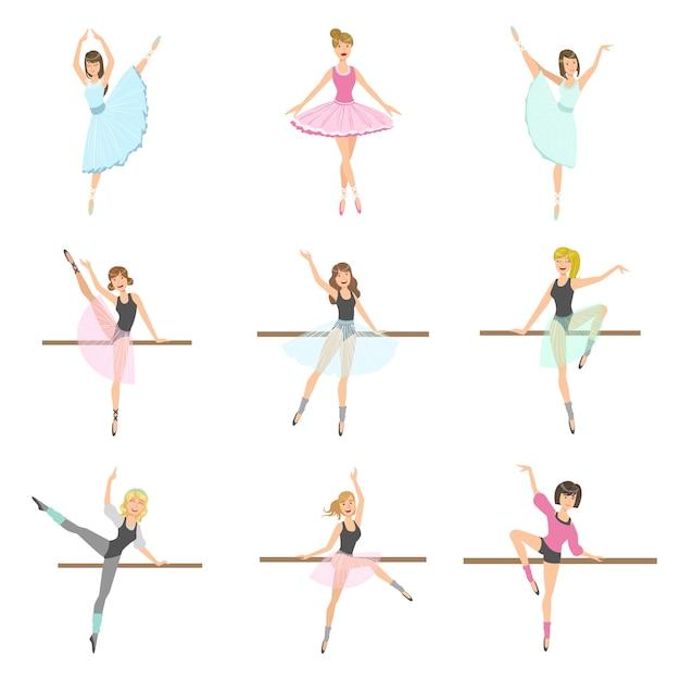 Allet dancers in different poses rehearsing set Premium Vector