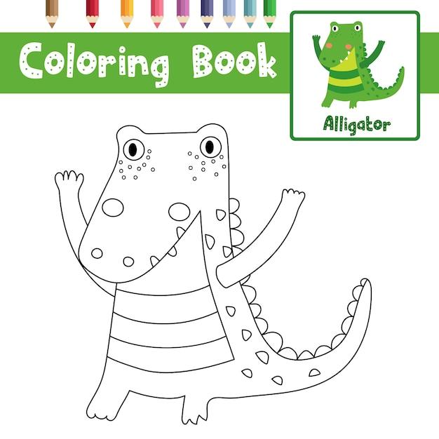 Alligator coloring page Premium Vector