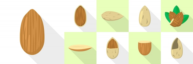 Almond nut icons set, flat style Premium Vector