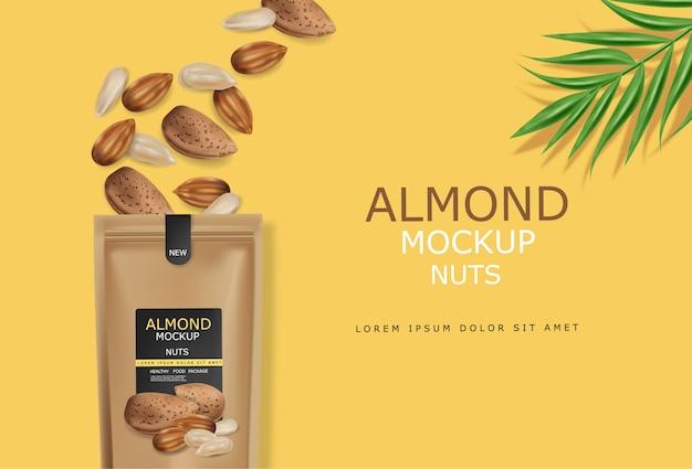 アーモンドナッツの現実的なモックアップ。生ビーガンおいしいスナック。 3d詳細設計製品パッケージ 無料ベクター
