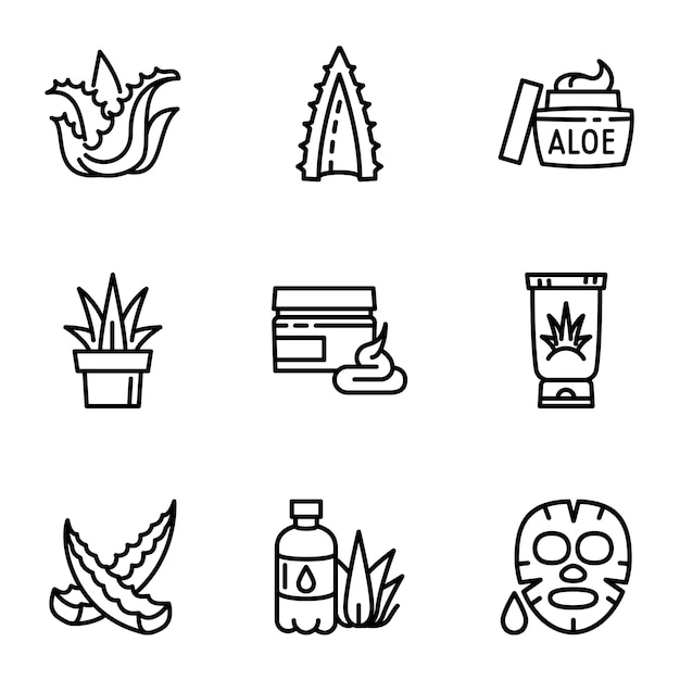 Aloe icon set, outline style Premium Vector