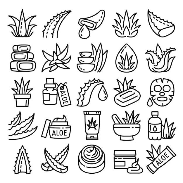 Aloe icons set, outline style Premium Vector