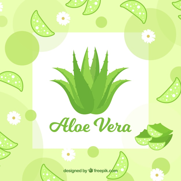 Aloe vera background with leaves and flowers Free Vector