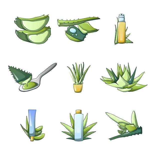 Aloe vera icon set Premium Vector
