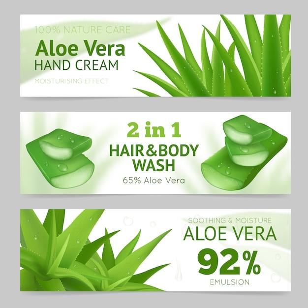 Aloe vera leaves banner Free Vector