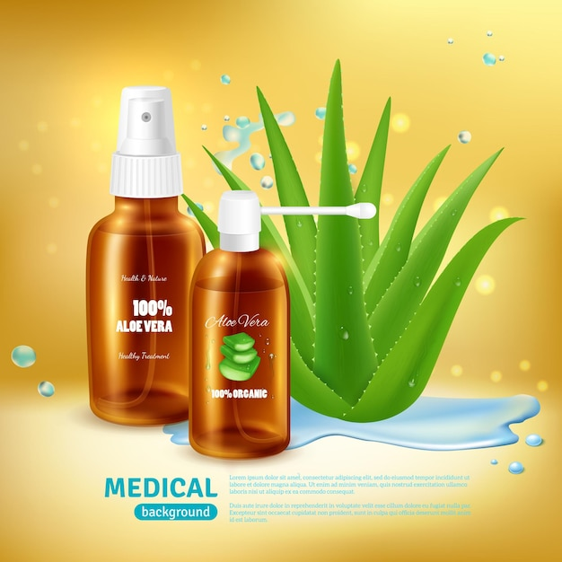 Aloe vera medical  with packaging for medical spray tube and nebulizer with realistic aloe plant Free Vector
