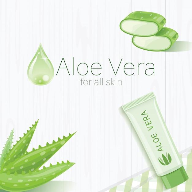 Aloe vera template design Premium Vector