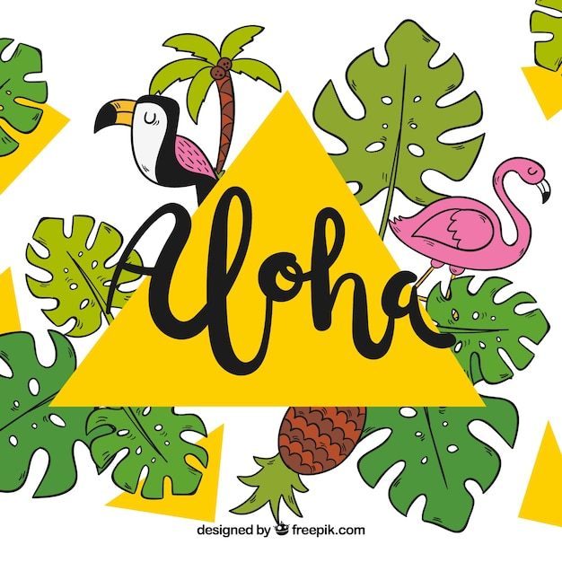 Aloha background with birds and hand drawn palm\ leaves